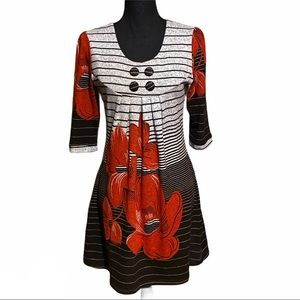 Funky People Bold Floral Tunic Sweater Dress M